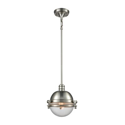 Aquila 1-Light Mini Pendant Finish: Satin Nickel/Clear