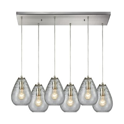 Bradsher Rectangle 6-Light Cascade Pendant Finish: Satin Nickel/Clear