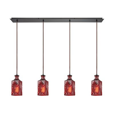 Bedingfield Linear Pan 4-Light Kitchen Island Pendant Shade Color: Wine Red