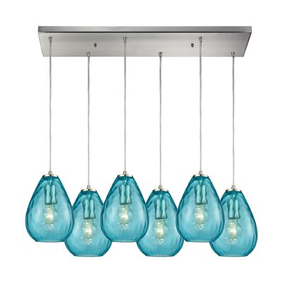 Bradsher Rectangle 6-Light Cascade Pendant Finish: Satin Nickel/Aqua