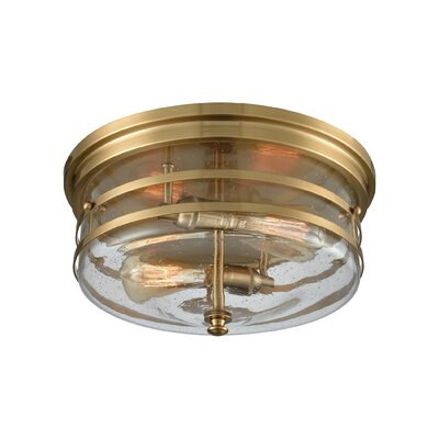 Caplinger 2-Light Flush Mount Finish: Satin Brass