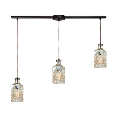 Brunoy Linear Bar 3-Light Cascade Pendant Shade Color: Champagne Plated