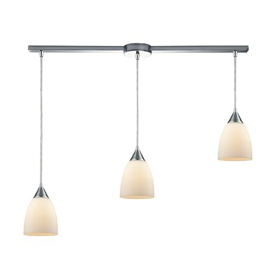 Mcbride Linear Bar 3-Light Kitchen Island Pendant Shade Color: Opal White