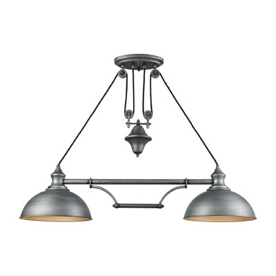 Rodriques Pulldown 2-Light Pool Table Light Finish: Weathered Zinc