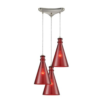 Reed Triangle Pan 3-Light Cascade Pendant Shade Color: Wine Red