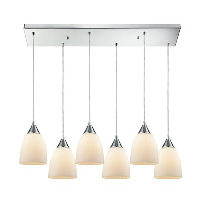 Mcbride Rectangle 6-Light Cascade Pendant Shade Color: Opal White