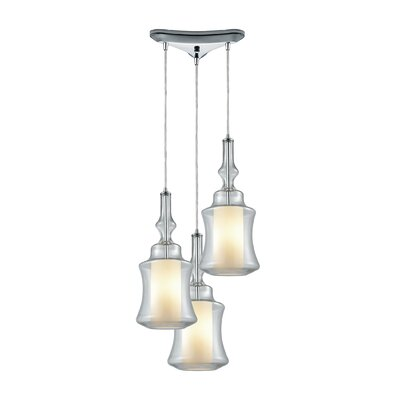 Cabell Triangle Pan 3-Light Cascade Pendant Shade Color: Clear