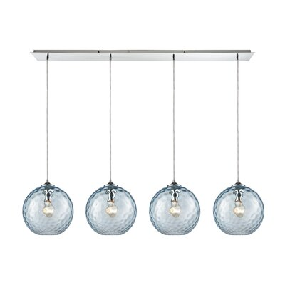 Rotterdam Linear Pan 4-Light Kitchen Island Pendant Shade Color: Aqua