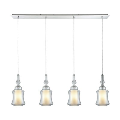 Cabell Linear Pan 4-Light Kitchen Island Pendant Shade Color: Clear