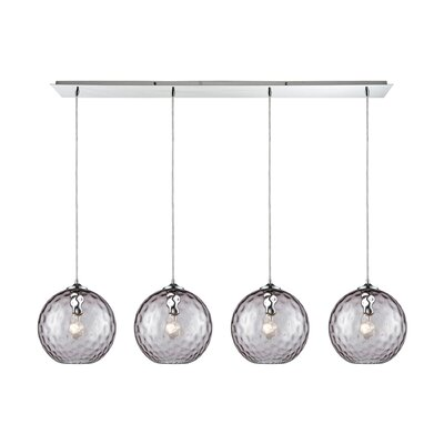 Rotterdam Linear Pan 4-Light Kitchen Island Pendant Shade Color: Purple