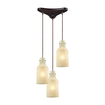 Burkhead Triangle Pan 3-Light Cascade Pendant Shade Color: Beige