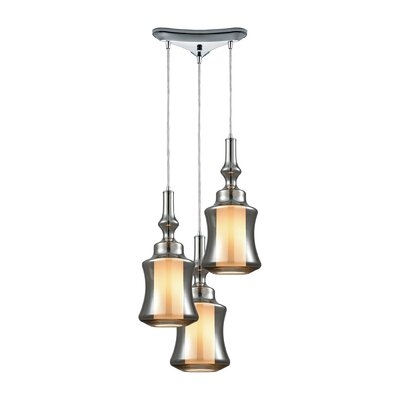 Cabell Triangle Pan 3-Light Cascade Pendant Shade Color: Smoke Plated