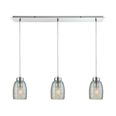 Snyder Linear Pan 3-Light Kitchen Island Pendant Finish: Polished Chrome/Clear