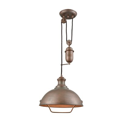 Rodriques Pulldown 1-Light Inverted Pendant Finish: Tarnished Brass