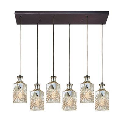 Bedingfield Rectangle 6-Light Cascade Pendant Shade Color: Champagne Plated