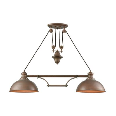 Rodriques Pulldown 2-Light Pool Table Light Finish: Tarnished Brass