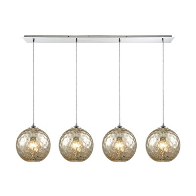 Rotterdam Linear Pan 4-Light Kitchen Island Pendant Shade Color: Mercury