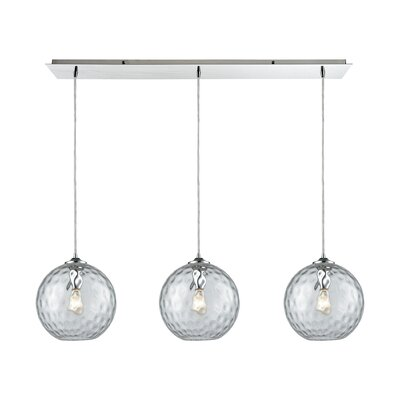 Rotterdam Linear Pan 3-Light Kitchen Island Pendant Shade Color: Clear
