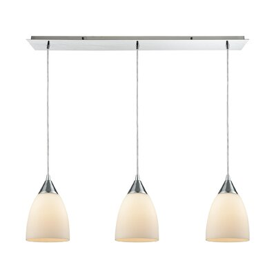 Mcbride Linear Pan 3-Light Kitchen Island Pendant Shade Color: Opal White