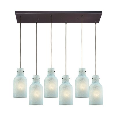 Burkhead Rectangle 6-Light Cascade Pendant Shade Color: Seafoam