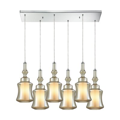 Cabell Rectangle 6-Light Cascade Pendant Shade Color: Champagne Plated