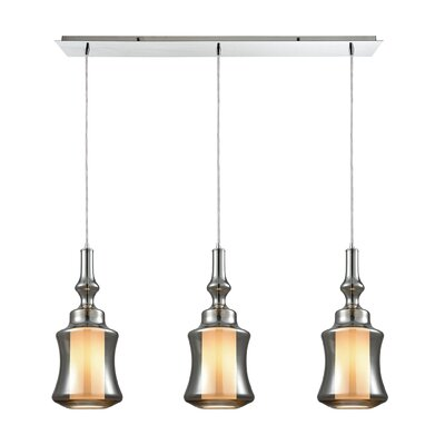 Cabell Linear Pan 3-Light Kitchen Island Pendant Shade Color: Smoke Plated