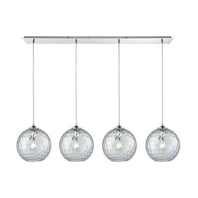Rotterdam Linear Pan 4-Light Kitchen Island Pendant Shade Color: Clear