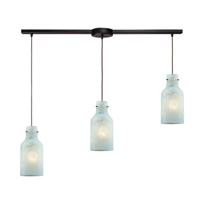 Burkhead Linear Bar 3-Light Cascade Pendant Shade Color: Seafoam