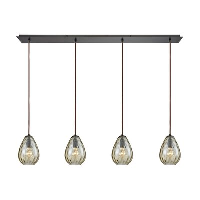 Bradsher Linear Pan 4-Light Kitchen Island Pendant Finish: Oil Rubbed Bronze/Champagne Plated