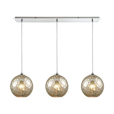 Rotterdam Linear Pan 3-Light Kitchen Island Pendant Shade Color: Mercury