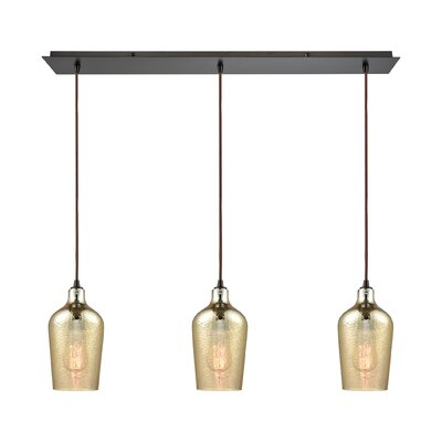 Rancho Mirage Linear Pan 3-Light Kitchen Island Pendant Shade Color: Amber Plated