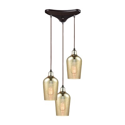 Esteban Triangle Pan 3-Light Cascade Pendant Shade Color: Amber Plated
