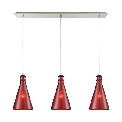 Reed Linear Pan 3-Light Kitchen Island Pendant Shade Color: Wine Red