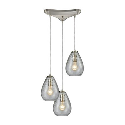 Bradsher Triangle Pan 3-Light Cascade Pendant Finish: Satin Nickel/Clear