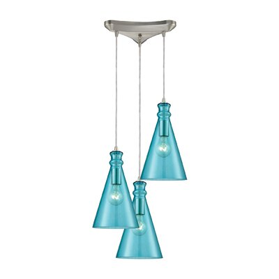 Reed Triangle Pan 3-Light Cascade Pendant Shade Color: Aqua