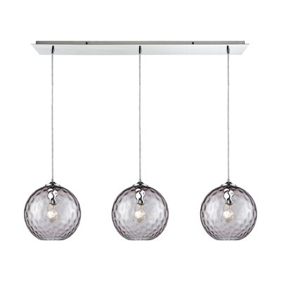 Rotterdam Linear Pan 3-Light Kitchen Island Pendant Shade Color: Purple