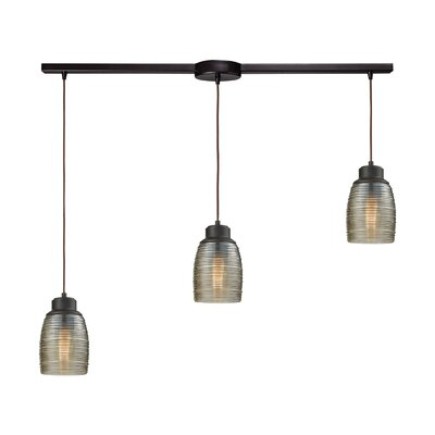 Snyder Linear Bar 3-Light Cascade Pendant Finish: Oil Rubbed Bronze/Champagne Plated