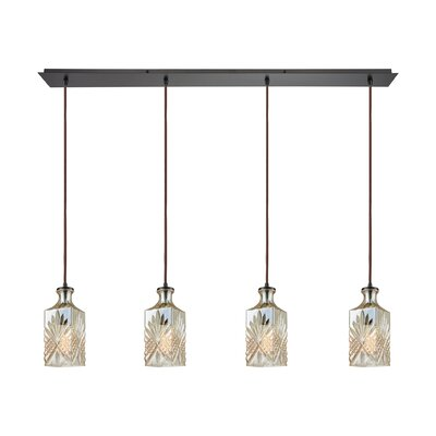 Brunoy Linear Pan 4-Light Kitchen Island Pendant Shade Color: Champagne Plated