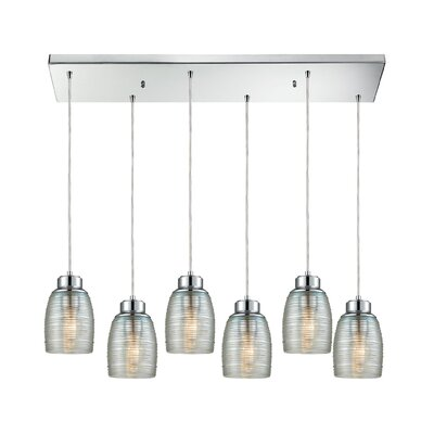 Snyder Rectangle 6-Light Cascade Pendant Finish: Polished Chrome/Clear