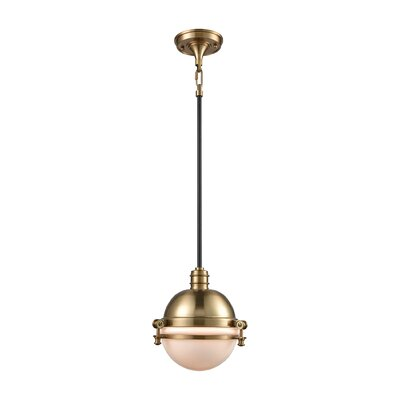 Aquila 1-Light Mini Pendant Finish: Satin Brass/Oil Rubbed Bronze