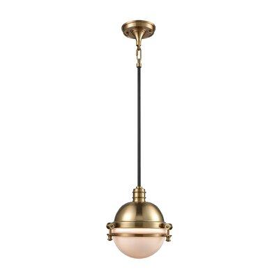 Aquila 1-Light Mini Pendant Color: Satin Brass/Oil Rubbed Bronze