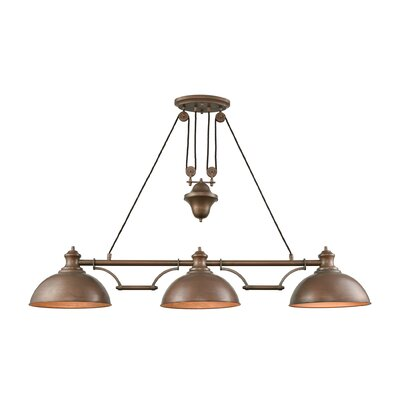Rodriques Pulldown 3-Light Pool Table Light Finish: Tarnished Brass