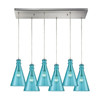 Reed Rectangle 6-Light Cascade Pendant Shade Color: Aqua