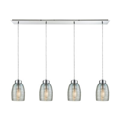 Snyder Linear Pan 4-Light Kitchen Island Pendant Finish: Polished Chrome/Clear