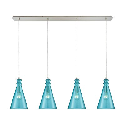 Reed Linear Pan 4-Light Kitchen Island Pendant Shade Color: Aqua