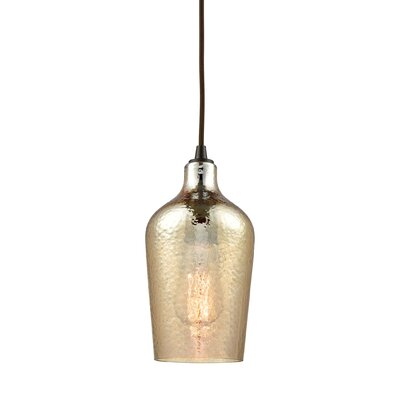 Esteban 1-Light Mini Pendant Shade Color: Amber Plated