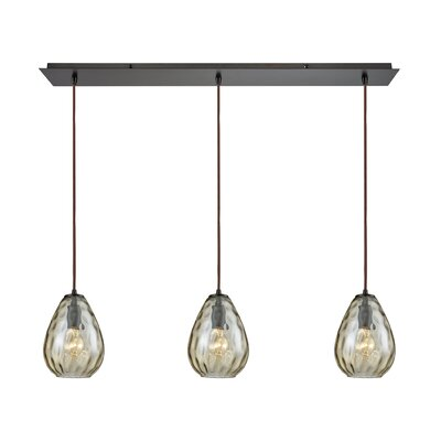 Bradsher Linear Pan 3-Light Kitchen Island Pendant Finish: Oil Rubbed Bronze/Champagne Plated