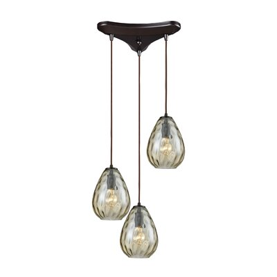 Bradsher Triangle Pan 3-Light Cascade Pendant Finish: Oil Rubbed Bronze/Champagne Plated