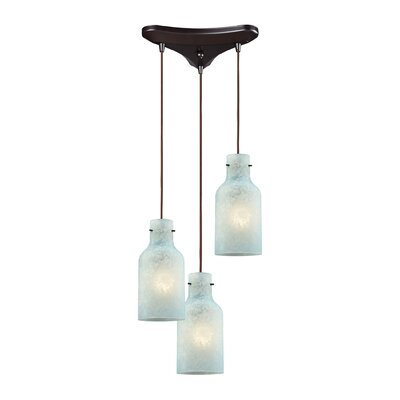 Burkhead Triangle Pan 3-Light Cascade Pendant Shade Color: Seafoam
