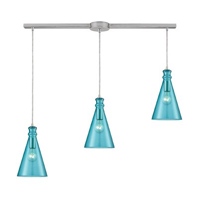 Reed Linear Bar 3-Light Cascade Pendant Shade Color: Aqua